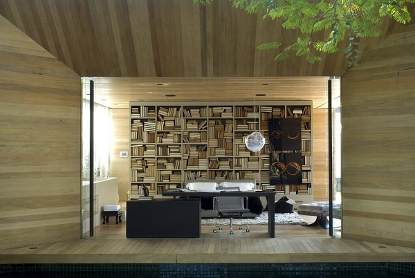 Creative living room design with wood material