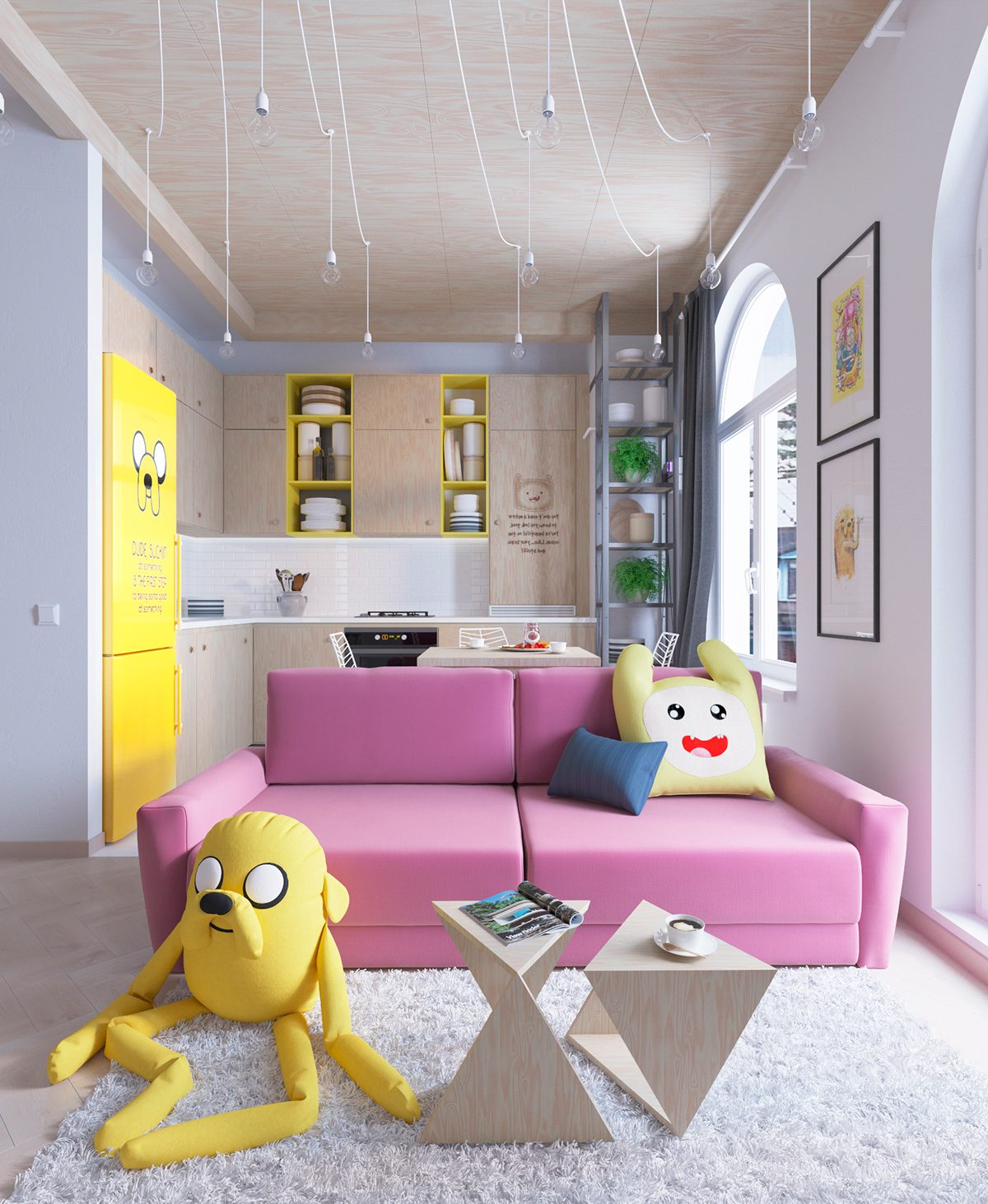 Colorful apartment interior design with charming feature for Colorful modern home decor