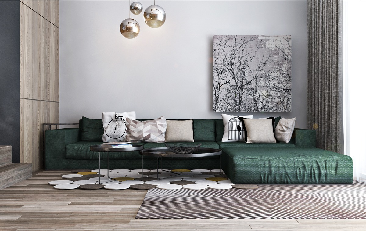 Smart ways to support a studio apartment design roohome for Forest green living room furniture