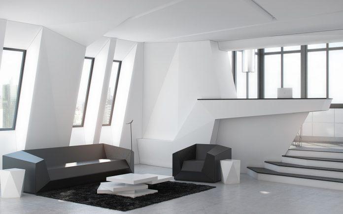 Futuristic living room interior design