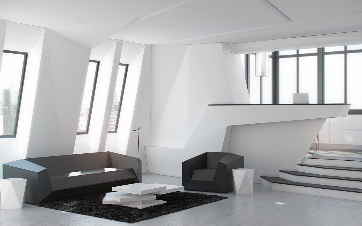 Studio apartment design inspiration with futuristic for Apartment design inspiration
