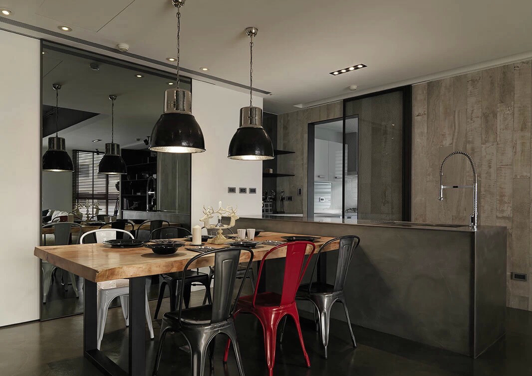Industrial kitchen design with Asian influence