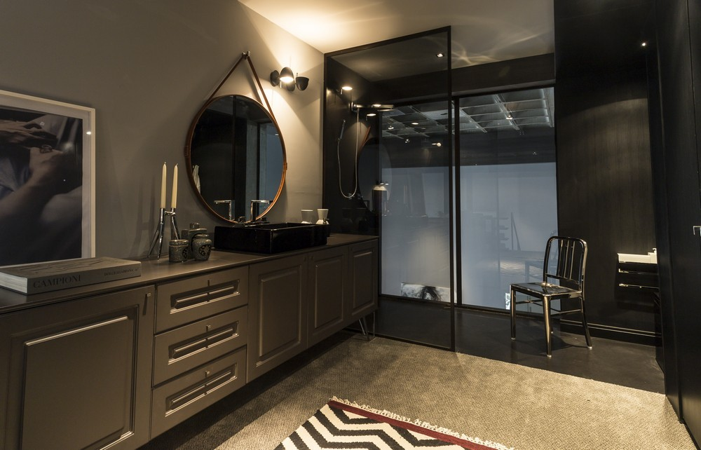 Modern bathroom with dark shades