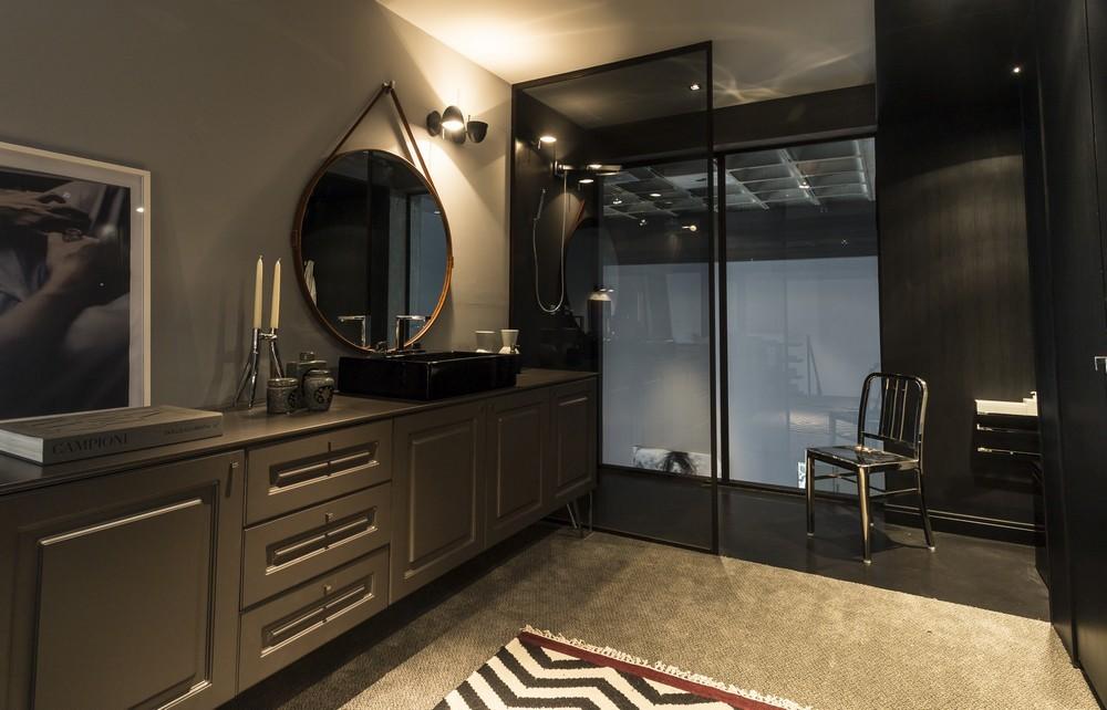 Modern bathroom with dark shades