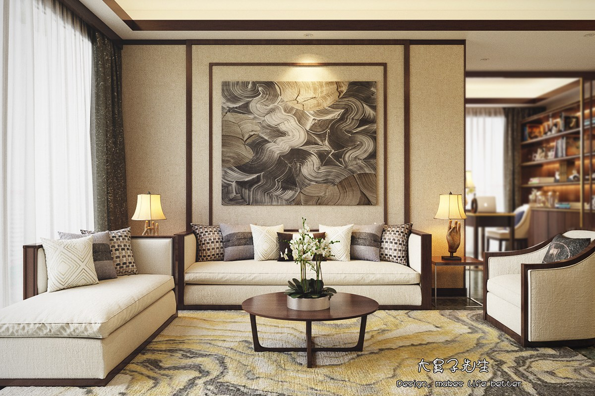 Beautiful apartment interior design with chinese style for Interior design curtains