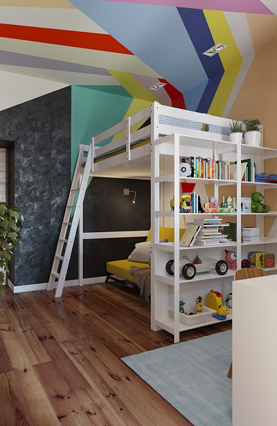 Modern design of bunk bed using colorful theme