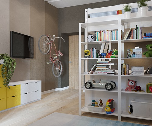 Modern design of bunk bed in apartment