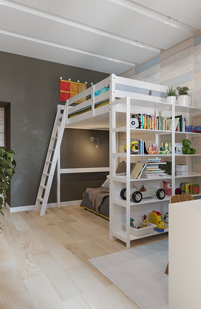 Modern design of bunk bed is suitable for kids