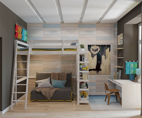 Modern design of bunk bed with sporty theme