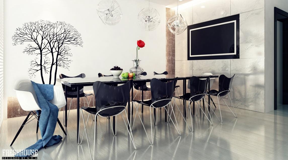 modern black dining room
