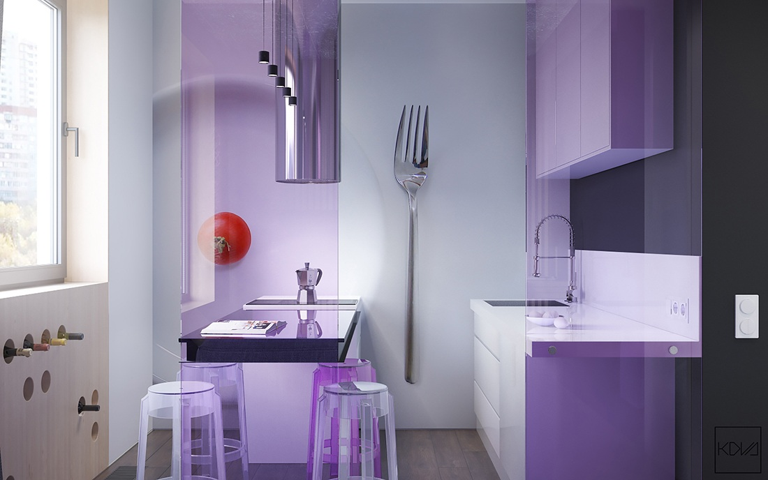 color design for kitchen modern small apartment design with purple color roohome 5537