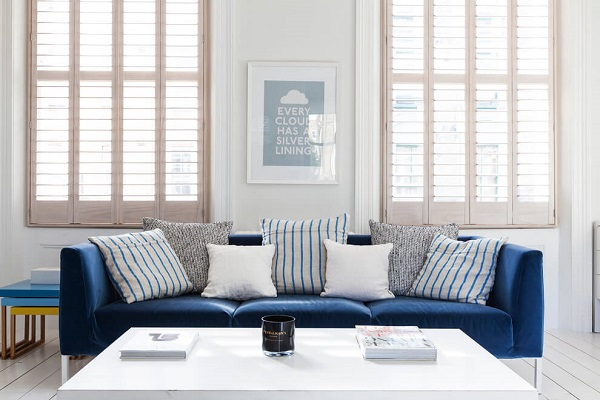 Scandinavian design with shade of blue decoration