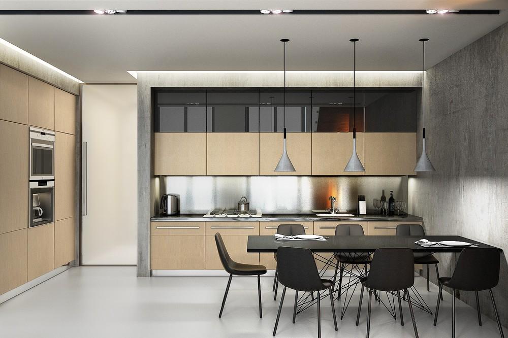 Minimalist wood panel kitchen