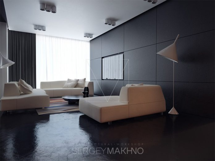 Dark interior design inspiration for small apartment for Sleek living room