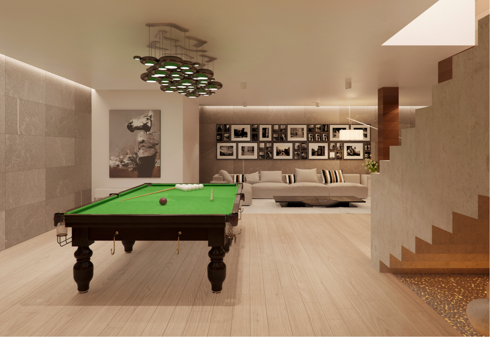 Modern house interior design ideas with elegant indoor for Small pool table room ideas
