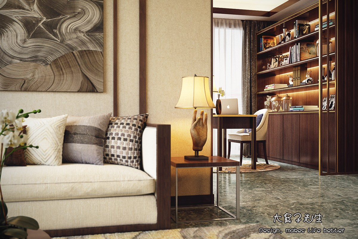 Beautiful apartment interior design with chinese style for Interior design styles traditional contemporary