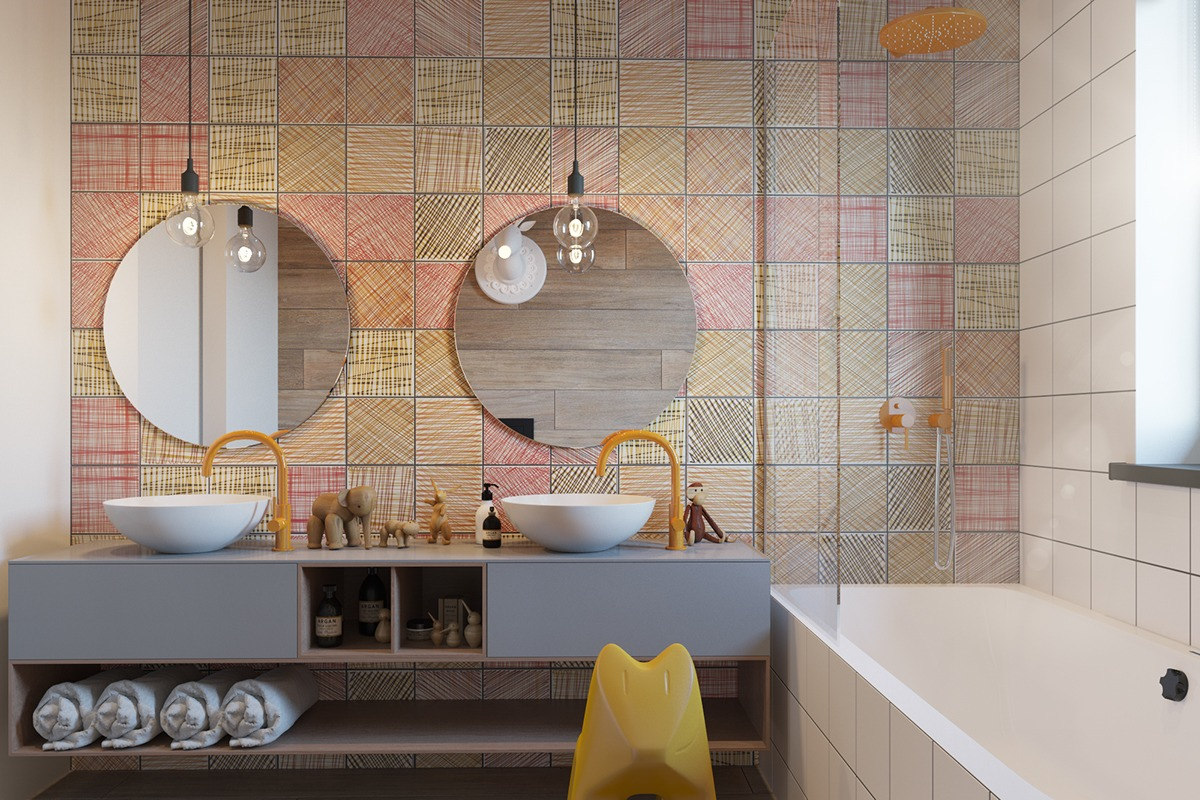 Stylish kids bathroom design