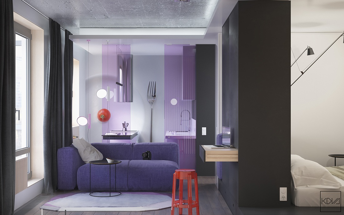 Modern small apartment design with purple color roohome for Small apartment inspiration