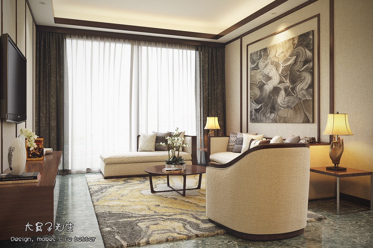 Beautiful apartment interior design with chinese style for Classic apartment decor