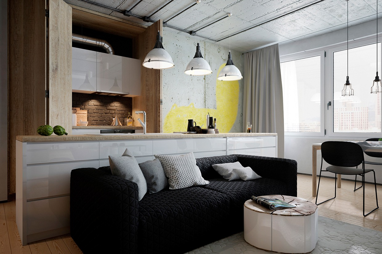 Great ideas how to arrange a trendy home design with for Arredare cucina e soggiorno in 30 mq