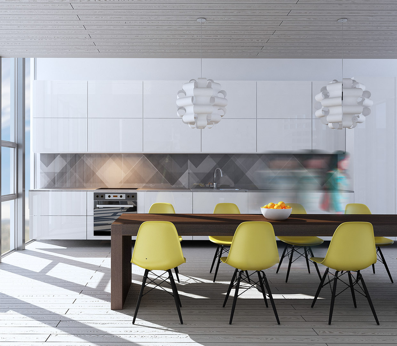 Yellow dining room design