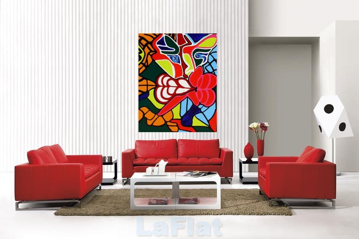 minimalist living room with painting