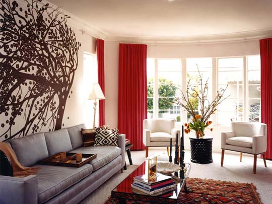 minimalist red and white living room
