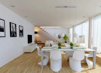 minimalist white dining room