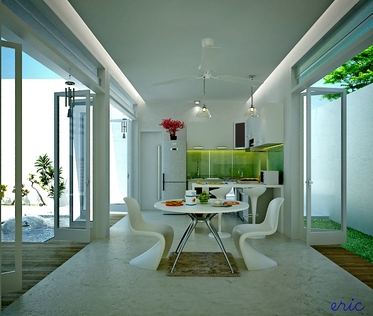 white dining room concept design