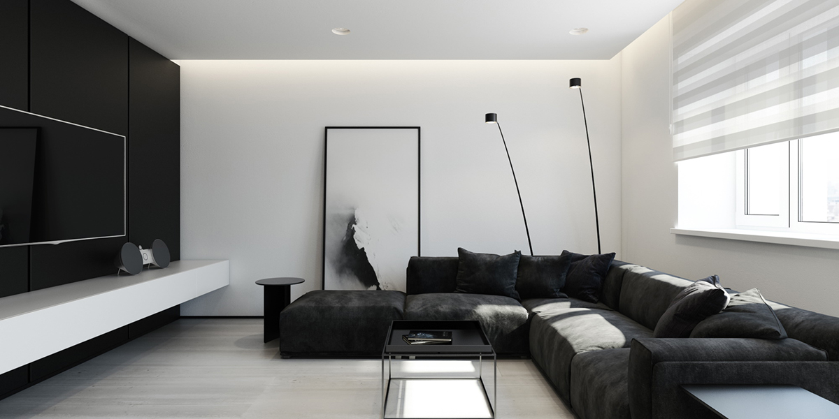 black living room apartment design