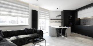 minimalist black and white apartment