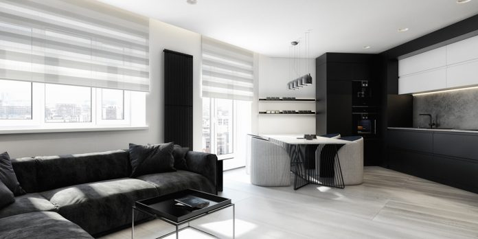 minimalist black and white apartment