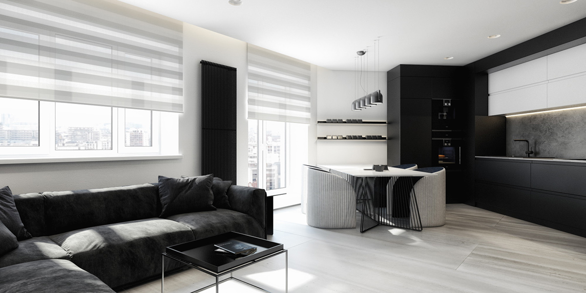 Creating a minimalist black and white apartment decorating for Creating a minimalist home