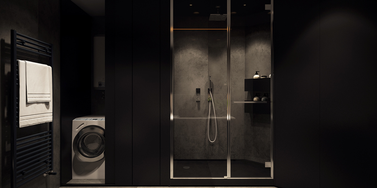 black bathroom apartment design