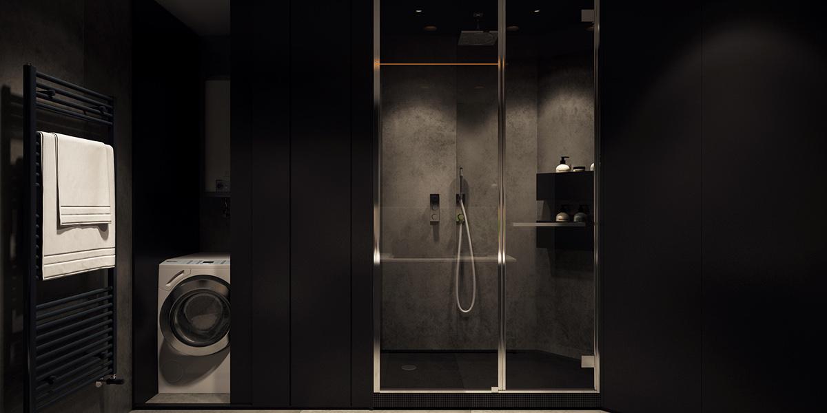 black bathroom apartment design
