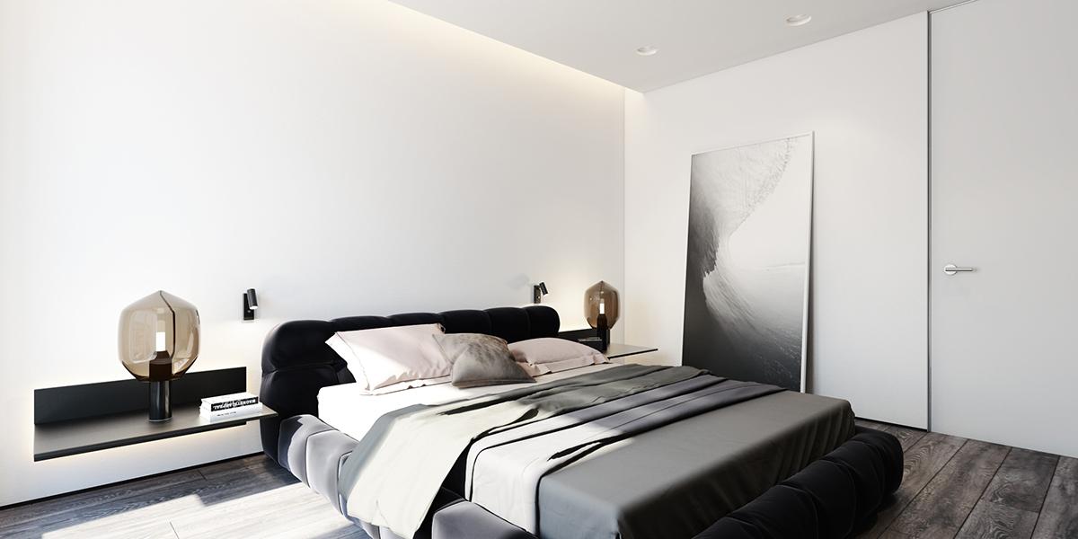 black and white minimalist apartment