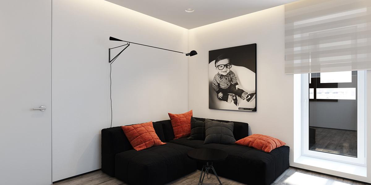 open plan minimalist apartment design