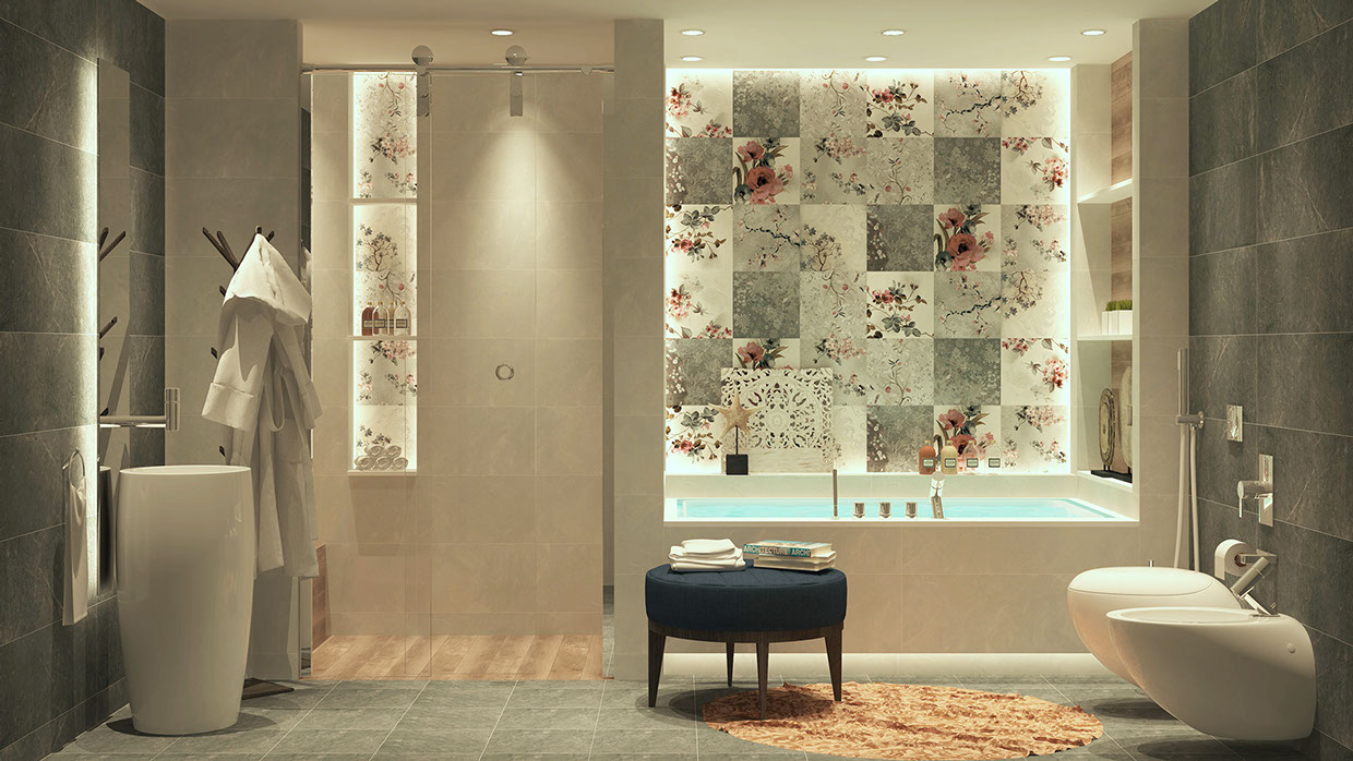 luxury bathroom with floral backsplash