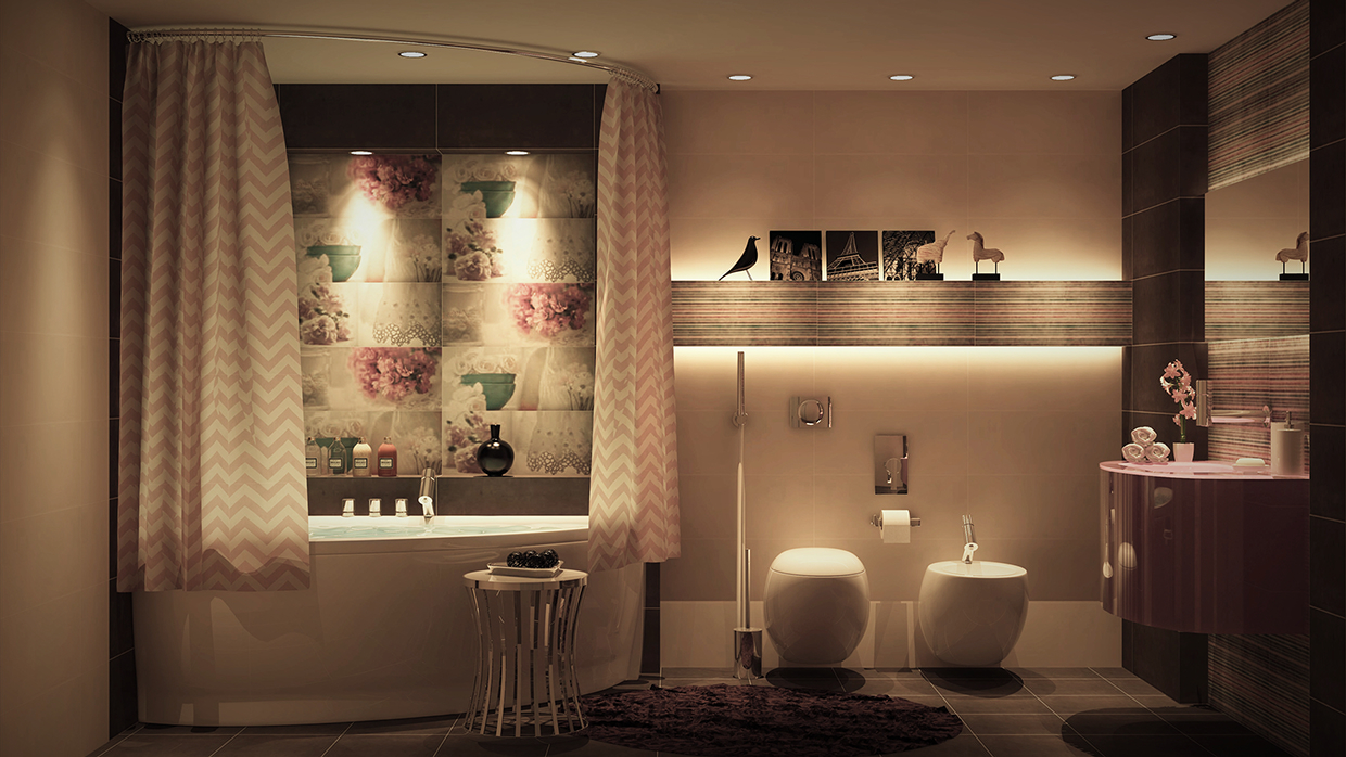 Luxury bathroom decor which combine with trendy and modern for Trendy bathroom decor