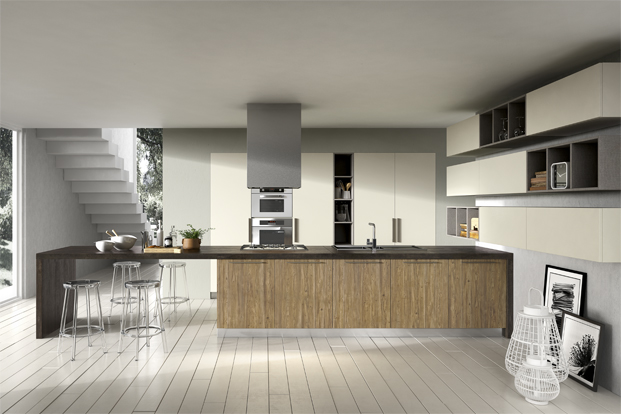 wooden white and gray kitchen