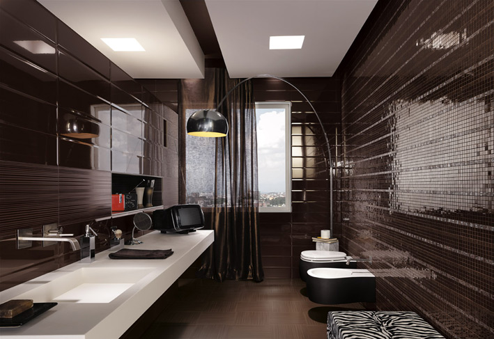 Black mosaic tiles masculine bathroom