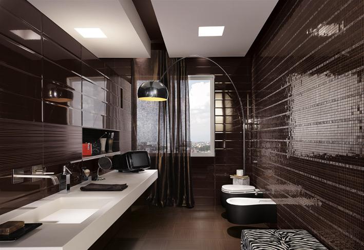 Black mosaic tiles masculine bathroom