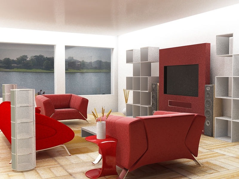 red furniture for decorating living room
