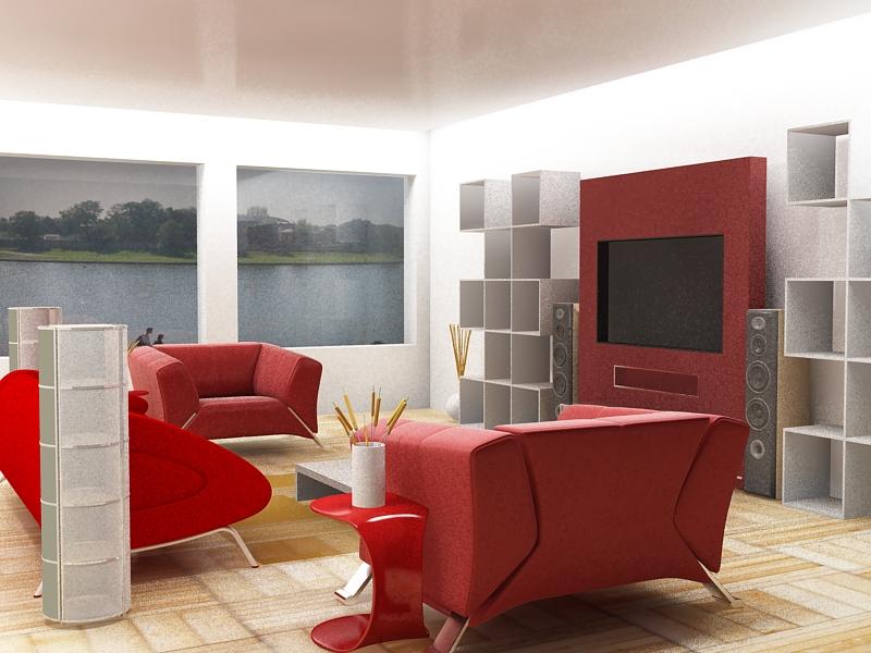 black white and red living room decor