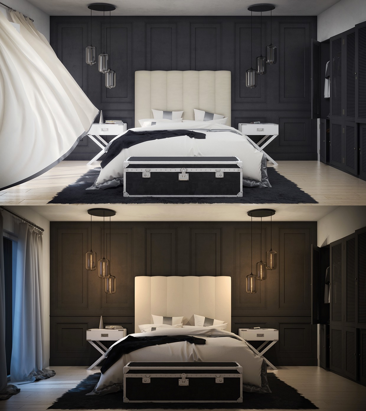 luxury dark color bedroom design