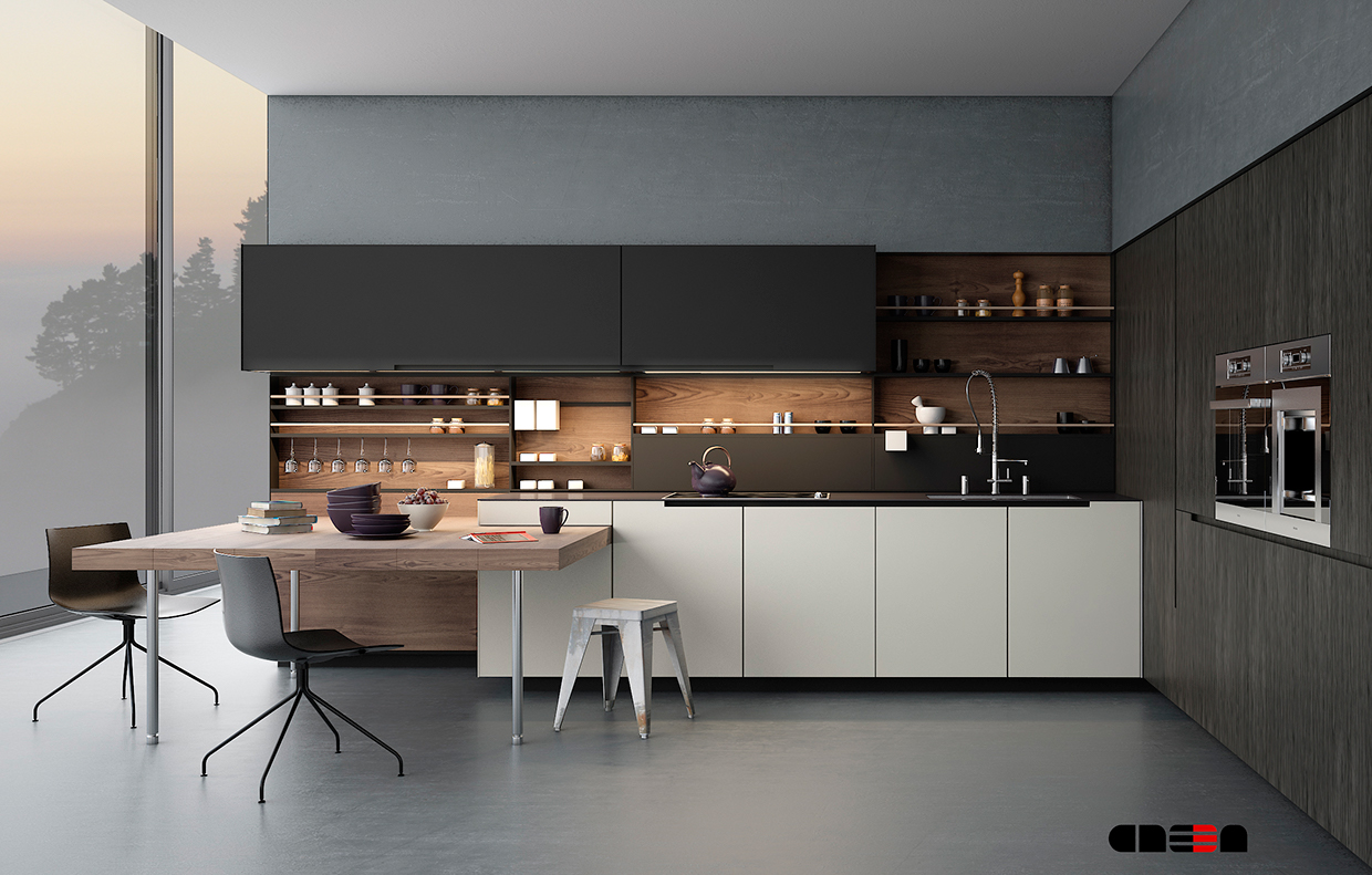 dark gorgeous minimalist kitchen design