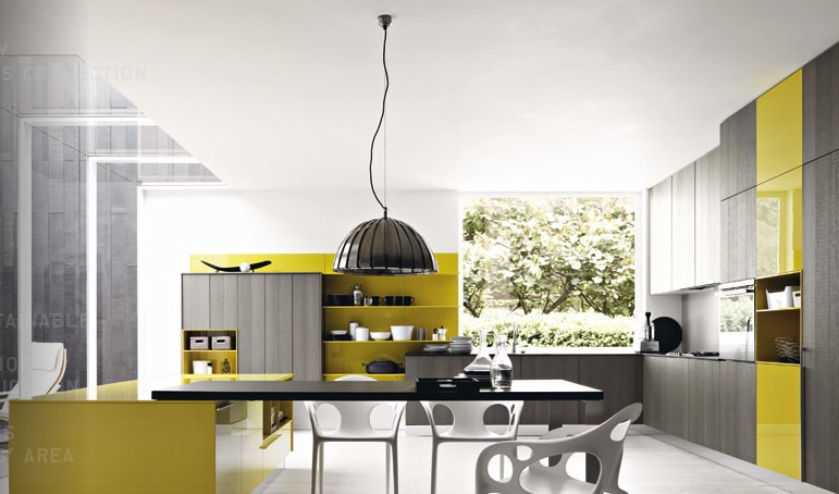 yellow modern kitchen design