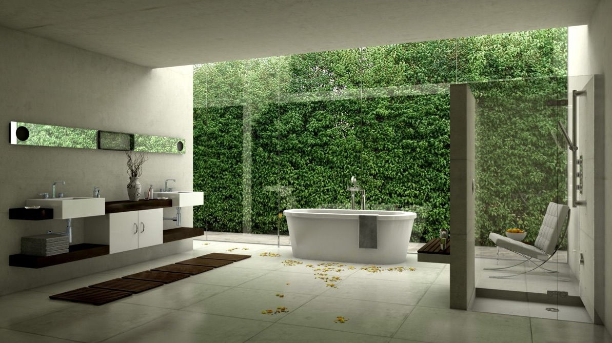 bathroom design showing nature view