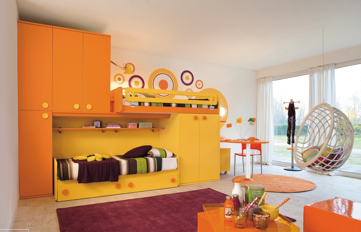 orange kid's bedroom design