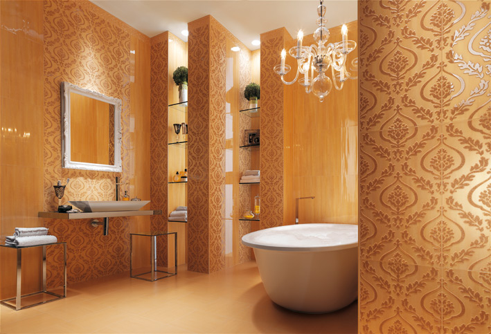 Cream wallpaper look bathroom tiles